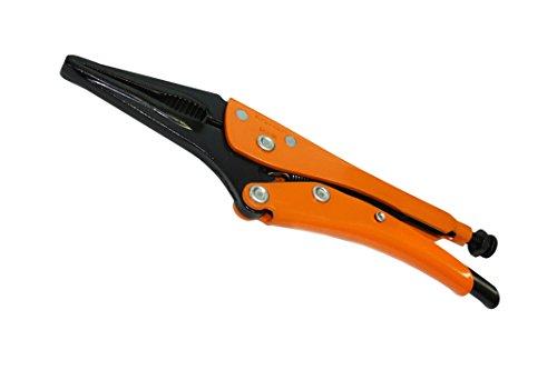 Grip-On GR12710 10-Inch Long Nose Locking Pliers in Orange Epoxy
