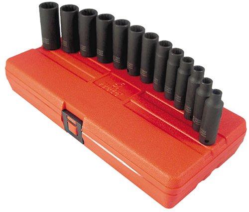 Sunex 3682 13 Piece 38-Inch Drive Deep Metric 12 Point Impact Socket Set