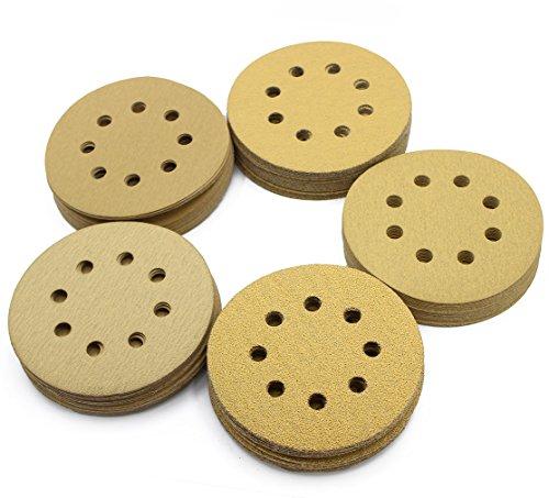 LotFancy 5-Inch 8-Hole Dustless Hook-and-Loop Sanding Disc Sander Paper Pack of 100 20 Each of 60 80 120 150 220 Grits