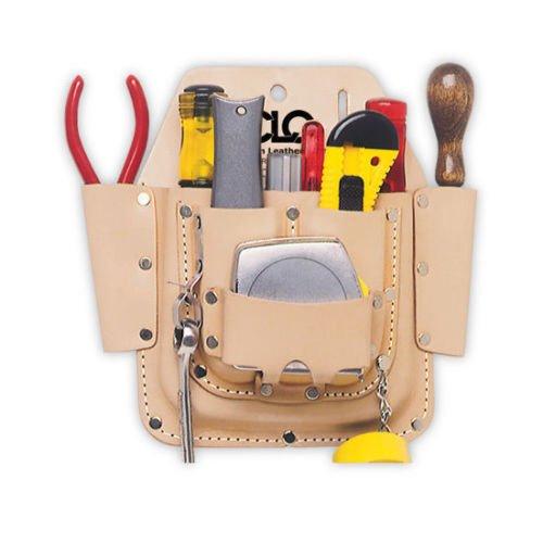 CLC W438 Custom LeatherCraft 6 Pocket Leather Electrician Tool Belt Pouch wClip