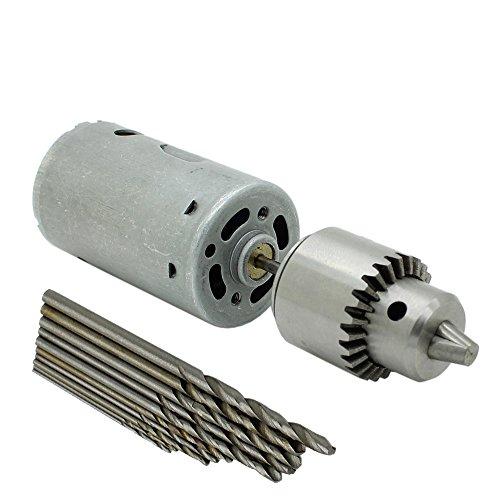 12v Dc Mini Electric PCB Motor Drill Press Drilling Tool with 03-4mm JTO Chuck and 10pc Twist Bit
