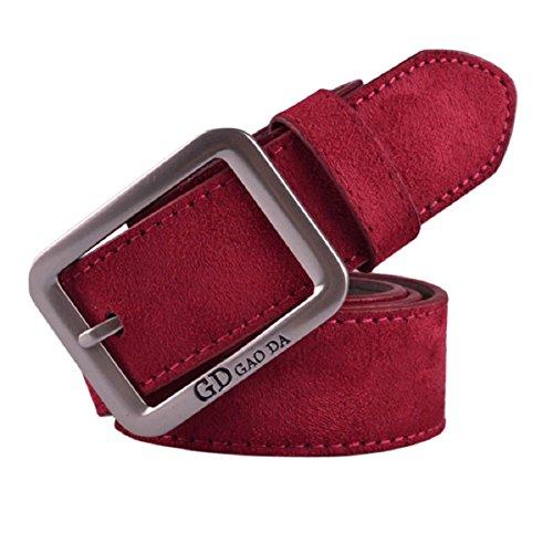 Doinshop Hot Mens Waist Strap Belts Casual Waistband Leather Automatic Buckle Belt red
