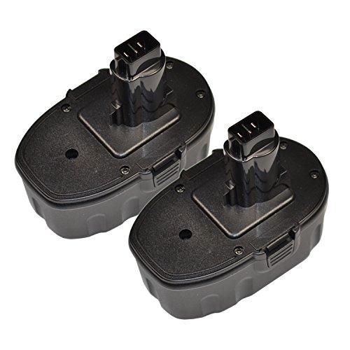 HQRP 2-Pack 18V Battery for DEWALT DC410KB DC410N DC411B DC411KA DC411KL DC490B DC490KA DC495B DC495KA  HQRP Coaster