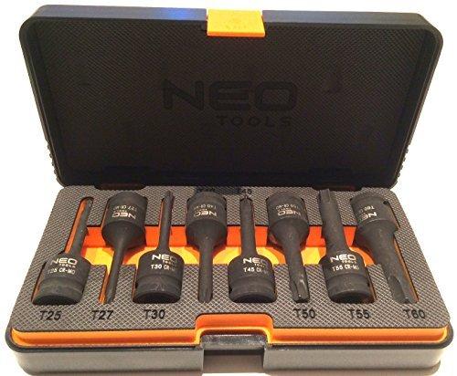 NEO heavy duty 12 impact torx star bits sockets set 8 pcs T25 -T60 Neo 08-712 by Neo