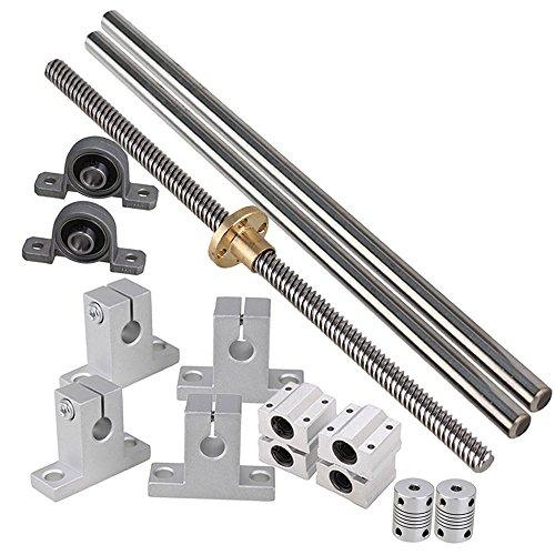 Industrial CombinationIdeaker 200mm Horizontal Optical Axis 8mm Lead Screw Dual Rail Shaft Support Pillow Block Bearings Flexible Shaft Coupling Set of 15