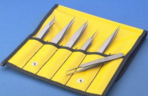 Aven 18475USA 6 Piece Technik Precision Tweezer Set Stainless Steel