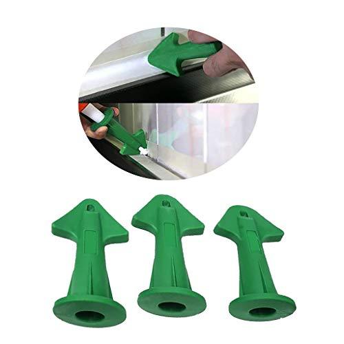 Caulk Nozzle Applicator 3Pcs Silicone Caulking Tools Sealant NozzleCaulking Epoxy Piston Nozzle Accessories Silicone Sealant Finishing Tool Grout Scraper for Tile or Brick Joints Green