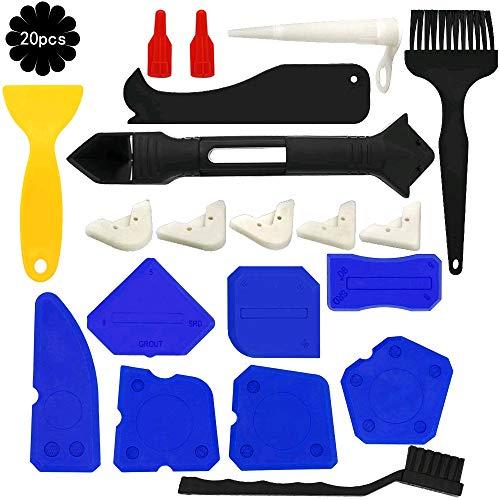 Caulking Tool Kits KINDPMA 20 PCS Sealant Finishing Tools Caulk Remover Silicone Grout Scraper Caulk Nozzle Caps Replaceable Pads Cleaning Brushes for Bathroom Kitchen Window Sink