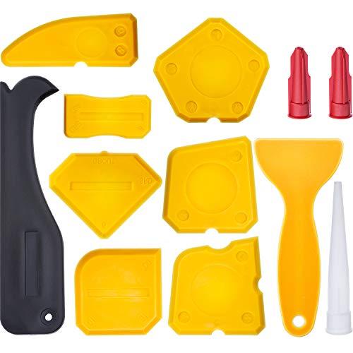 Hestya 12 Pieces Caulking Tool Kit Silicone Sealant Finishing Tool Grout Scraper Caulk Remover and Caulk Nozzle and Caulk Caps Yellow