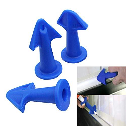 wanzi2 Rubber Caulking Guns Tip - Rubber Nozzle TipGlue Nozzle Scraper PadCaulking Grouting Sealant Finishing Clean Remover Tool 3 Pcs Blue