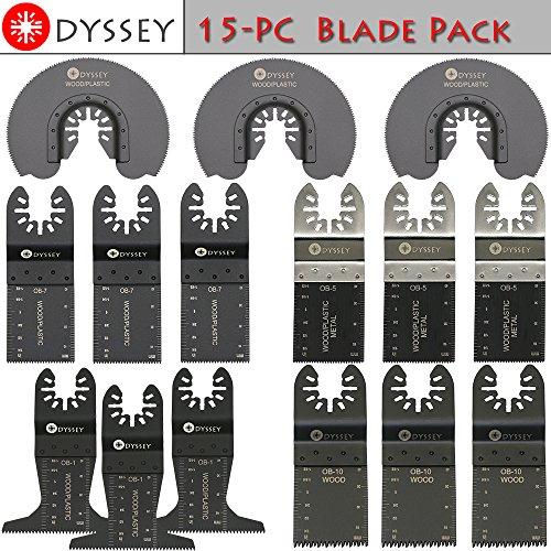 Odyssey Oscillating Multitool 15 Blade Pack Wood Plastic Metal Saw Blade Platinum Blades oscillating Multi-tool Blade Bundle 15-Items