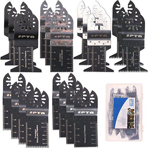 SPTA 20Pcs Oscillating Multi Tool Saw Blade With Plastic Box For Fein MultimasterDremelBoschMakitaDewalt and More-Pack of 20 Pcs