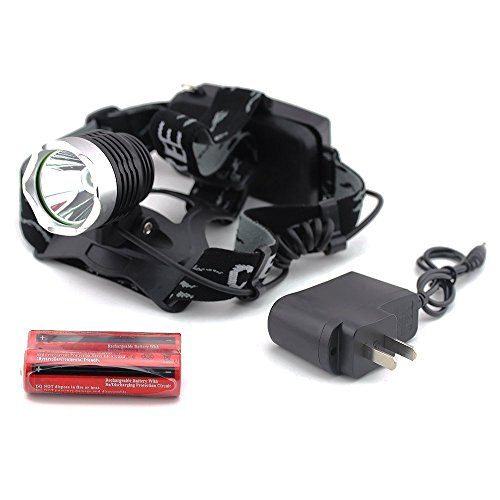econoLED Outdoor Waterproof 1600lm Xm-l T6 LED Headlamp  2 X 18650 Rechargeable Batteries  Charger US seller