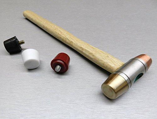 Hammer 5 Interchangeable Faces Plastic Nylon Copper Rubber Brass Mallet Jewelry