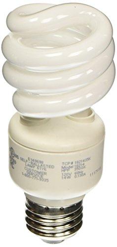 TCP 1821435K CFL Spring Lamp - 60 Watt Equivalent only 14W used Bright White 3500K HPF Spiral Light Bulb