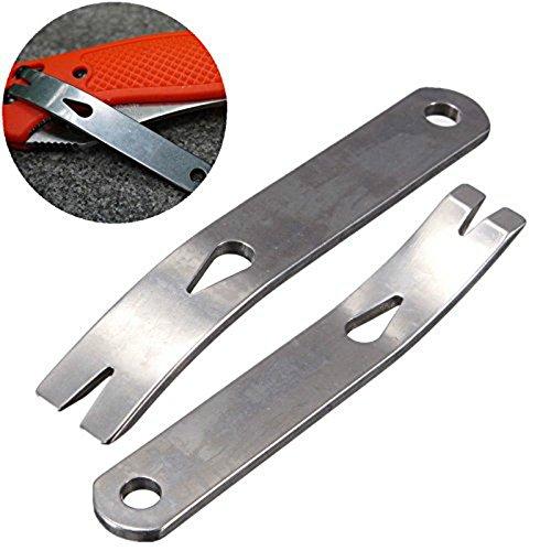 Yosoo 2pcs EDC Gear Mini 3 Stainless Steel Crank Crowbar Pocket Pry Bar Keychain Keyring Multi Tool Survival Scraper Opener