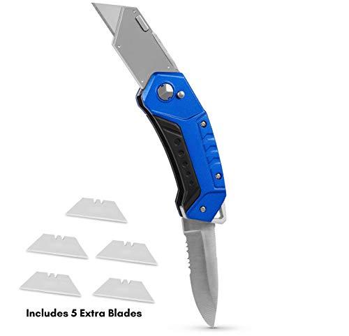 BirdRock Home Premium Folding Utility Knife with Sport Blade - Small Compact Pocket - Folding Box Cutter Tool - 5 Extra Razor Blades - Cut Cardboard Boxes - Locking Safety Knife Set - Heavy Duty