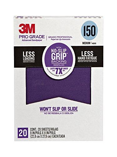 3M 26150CP-P-G Pro Grade No-Slip Grip Advanced Sandpaper 9 x 11-Inch 150 Grit Pack of 20 1