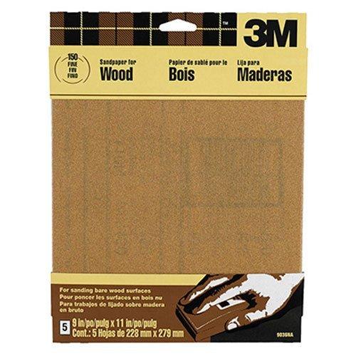 3M Garnet Sandpaper Fine Grit 9-Inch by 11-Inch 5-Sheet