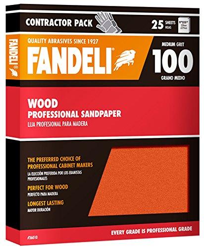 Fandeli 36010 100 Grit Wood Sandpaper Sheets 9  x 11 25-Sheet