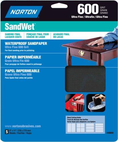 Norton 48058 Sandwet 5-Pack Sandpaper 600 Grit 9-Inch x 11-Inch Sheets