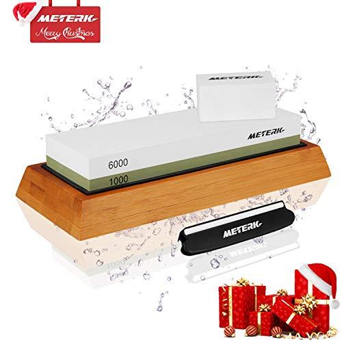 Knife Sharpening StoneMeterk 2-Sided Whetstone Set 10006000 Grits Knife Stone Sharpener Kit with Non-slip Bamboo Base Angle Guide Flattening Stone for Home Kitchen