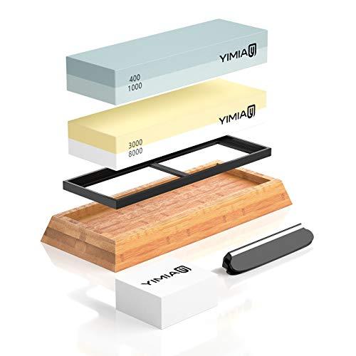Premium Knife Sharpening Stone Kit YIMIA 4 Side Grit 4001000 30008000 Whetstone Knife Sharpener Waterstone with Non-Slip Bamboo Base Flattening Stone Angle Guide