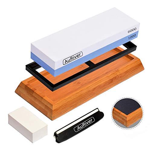 Whetstone Knife Sharpener Premium Sharpening Stone Set 2 Side Grit 10006000 with Non-Slip Bamboo Base Flattening Stone Angle Guide for Kitchen Chef Knives Blue