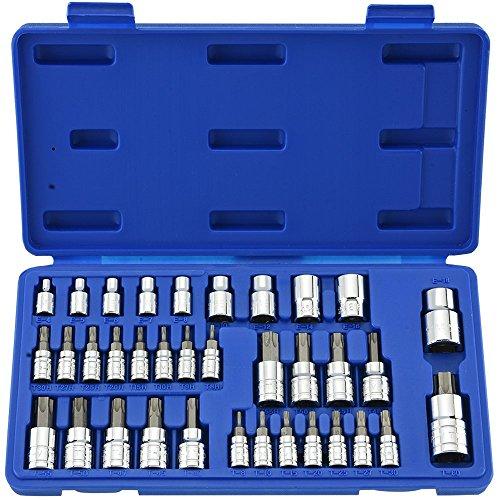 Neiko 10070A Torx Bit Socket and External Torx Socket Set  35-Piece Set  S2 and Cr-V Steel