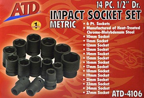 Advanced Tool Design Model  ATD-4106  14 Piece 6 Point Standard Metric Impact Socket Set