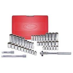 45 Piece 38 Drive Standard and Deep SAE and Metric Spline Socket Set Tools Equipment Hand Tools