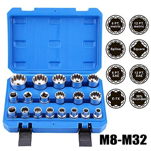 Spline Socket Set 19Pcs 12 Drive Socket Set 12 Point Sae Socket Set M8-M32 Auto Repair Tool Kit with Portable Case