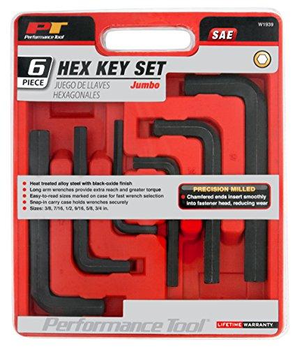 Performance Tool W1939 6pc Piece Jumbo Hexagon Key SAE Socket Set Tool