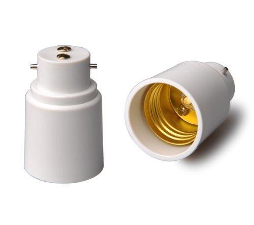 YiLighting - B22 to E26E27 Two-Pin Socket to Standard Socket Edison Light Bulb Adapter Converter For LED Halogen CFL Light Lamp 2 Pack