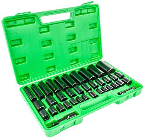JEGS 85024 38-Piece Socket Set 38 12 in Drive SAEMetric Chrome Vanadium St