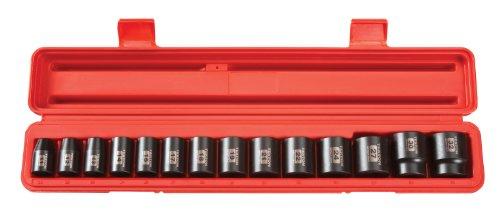 TEKTON 12-Inch Drive Shallow Impact Socket Set Metric Cr-V 6-Point 11 mm - 32 mm 14-Sockets  4817