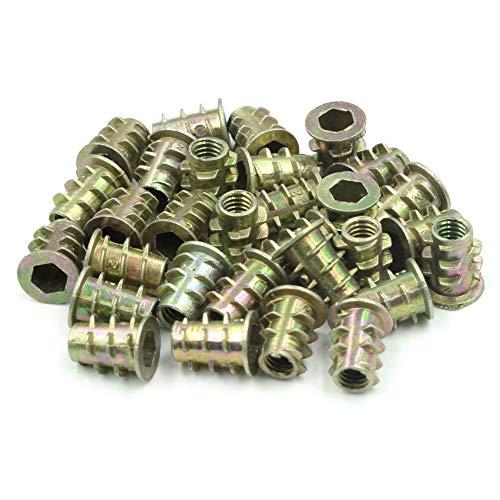 HONJIE M4x10mm Threaded Insert Nuts Zinc Alloy Hex Socket M4 Internal Threads Furniture Screw for Wood - 30 Pcs