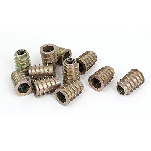 Wood M10x25mm Hex Socket Screw in Thread Zinc Plated Insert Nut 11Pcs