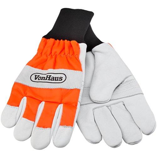 VonHaus Certified Chainsaw Safety Gloves - 16ms Orange White Size 8 Medium EN381-7 Rated