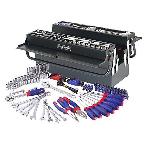 Tool set home-WORKPRO 183PC Handtool Set Pliers Sockets Bits Wrench Home Repair Kit Metal Box