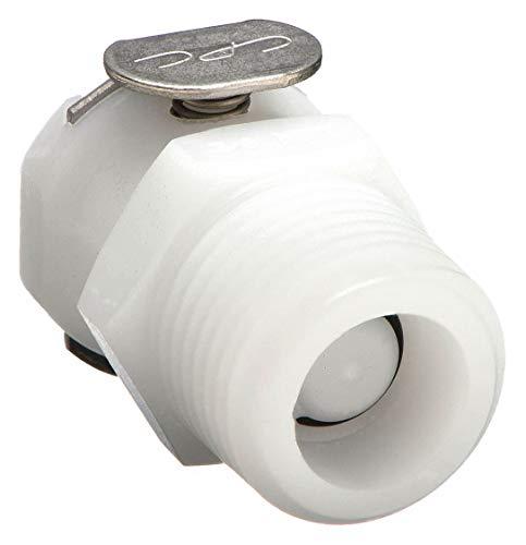 Colder PMCD1002 Acetal Tube Fitting Coupler Shutoff In-Line 18 Flow Coupler x 18 NPT Male