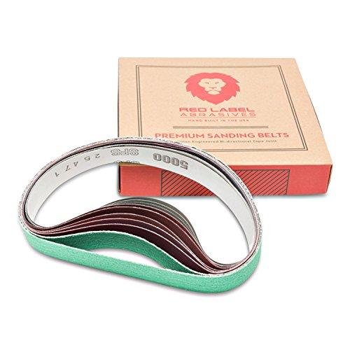 Red Label Abrasives 1 X 18 Inch Coarse P80 GritMedium P320 GritFine P800  Ultra Fine P5000 Grit Knife Sharpener Sanding Belts 10 Pack Fits Work Sharp Ken Onion Blade Grinder Attachment
