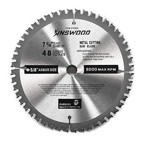 Kinswood Circular Saw Blade Metal Cutting Saw Finish Blade Cut Thin Kerf for DeWalt Makita SKIL Bosch Skil Heavy Duty and Anti-rust Coating 7-14 58 48T