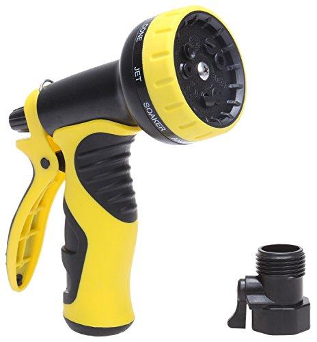 KMM Heavy Duty Garden Water Hose Nozzle 9 Adjustable Settings Sprayer Nozzles with Free Detachable Shutoff Valve030