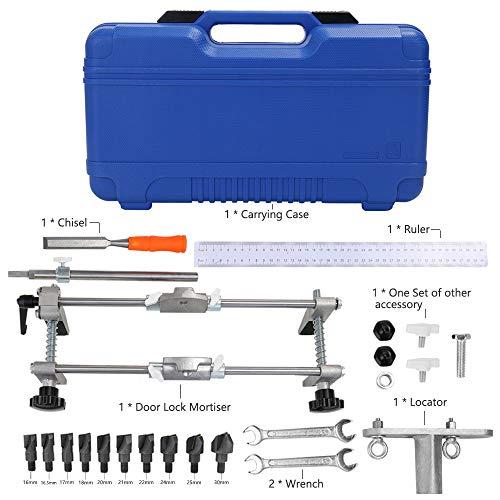 Mortice Lock KKmoon Professional Locksmith Woodworking Door Lock Mortiser Kit Hole Saw Opener Intallation Mortising Jig Tool Maintenance Set