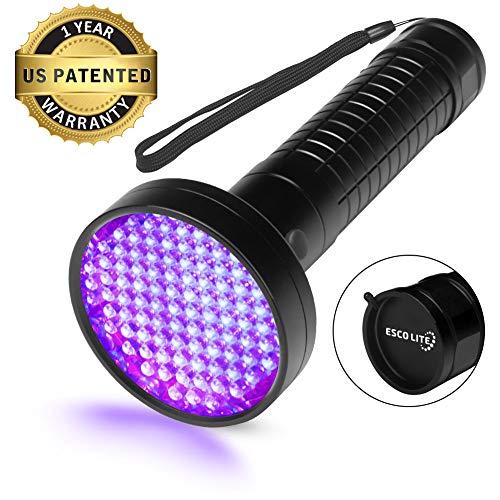 Escolite UV Flashlight Black Light 100 LED 395 nM Ultraviolet Blacklight Flashlights Detector for Dog Urine Pet Stains and Bed Bug Matching with Pet Odor Eliminator