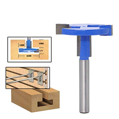 Transer T Slot Router Bit 14-Inches Shank Straight T-Track Cutter Carbide Wood Slatwall Groove Forming Milling Cutter Woodworking Drill Tool