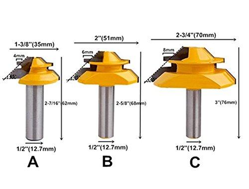 DBoyun 12 Shank Set of 3 Lock Miter 45 Degree Glue Joint Router Bits