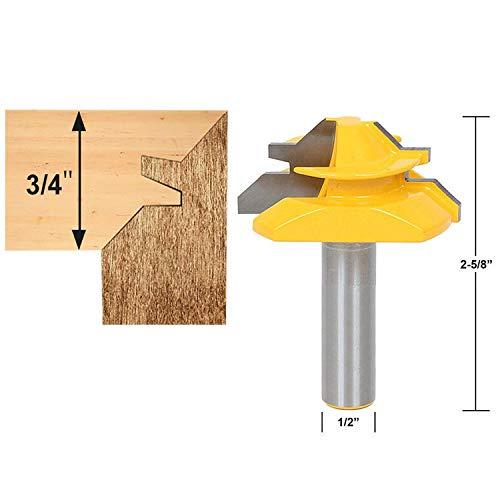 HAYUL Woodworking Router Bit 12 Inch Shank 45 Degree Lock Miter Router Bit 34 Inch Stock Joint Router Bit Woodworking Cutter Tool Shank 12 Stock 34