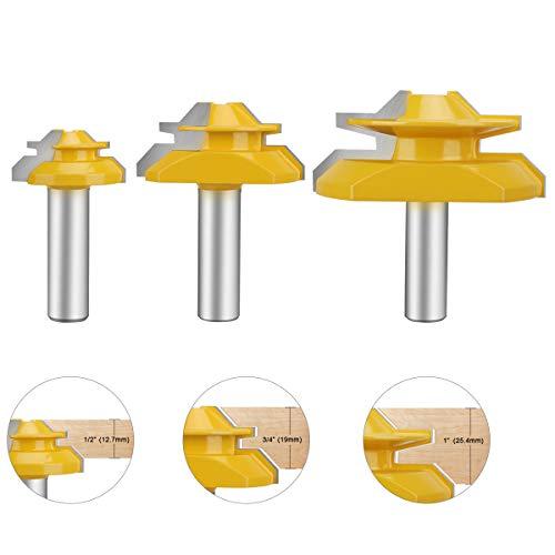 HandsEase 12 Shank Router Bit 45 Degree Glue Joint Lock Miter Woodworking Tools Set